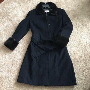 Calvin Klein Black wool coat faux beaver trim 10
